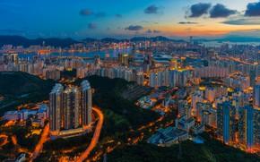 Wallpaper Hong Kong, building, China, China, night city, skyscrapers, panorama, Hong Kong