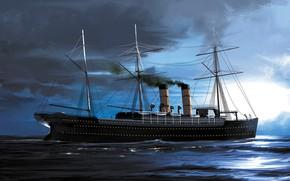 Picture wave, ship, Transatlantic Ships, etruria
