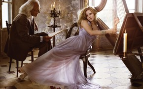 Picture girl, pose, notes, candles, makeup, dress, glasses, harp, hairstyle, costume, male, beauty, Emma Watson, Emma …