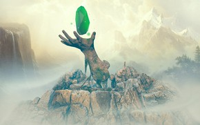 Picture mountains, stones, hand, chain, Of Stone and Magic