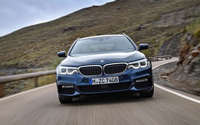 Picture road, asphalt, mountains, movement, BMW, slope, front view, universal, xDrive, Touring, 530d, 5, dark blue, …