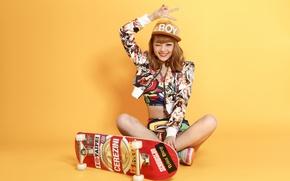 Wallpaper look, girl, joy, background, skate, East