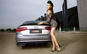 Picture auto, look, girl, Audi, Girls, dress, hairstyle, Asian