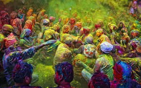 Picture people, India, powder, the festival of colors, Holi