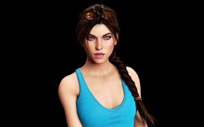 Picture look, girl, Mike, glasses, lips, Tomb Raider, Lara Croft, pigtail, Lara Croft