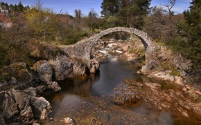 Wallpaper nature, bridge, river, Scotland, stream