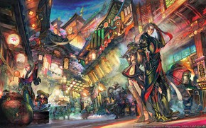 Picture the city, street, art, two, final fantasy xiv