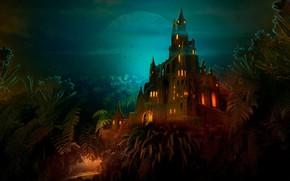 Wallpaper castle, night, Lilliput castle at night