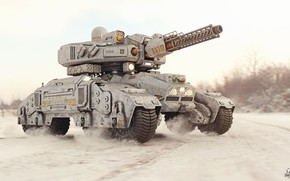 Picture machine, weapons, transport, dust, Sci-fi Tank