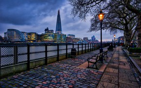 Picture the sky, clouds, trees, lights, river, England, London, home, the evening, lights, benches, promenade