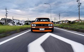 Picture Auto, Road, Machine, Asphalt, Orange, Nissan, Movement, Nissan, Lights, Car, 2000, Skyline, Nissan Skyline, 2000GT, …