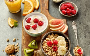 Picture glass, berries, raspberry, food, Breakfast, kiwi, juice, fruit, nuts, muesli