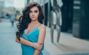 Picture look, the city, pose, street, portrait, makeup, dress, brunette, hairstyle, beautiful, bokeh