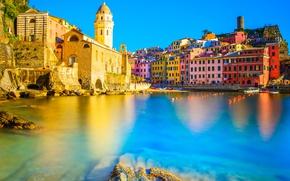 Picture sea, the sun, stones, shore, home, Italy, Church, Vernazza, Cinque Terre, Liguria