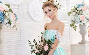 Picture flowers, bouquet, makeup, dress, hairstyle, blonde, photoshoot, cute, vases