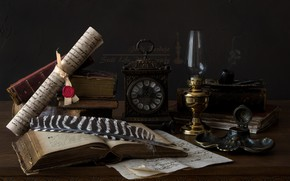 Picture pen, watch, books, lamp, tube, scroll, ink
