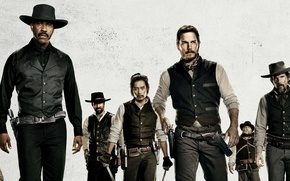 Wallpaper action, The Magnificent Seven, The Magnificent Seven, Western, characters, actors
