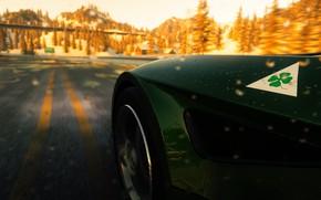 Picture car, game, alfa romeo, 8c competizione, verde, the crew, horizonte, sorte