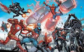 Picture captain america, spider man, iron man, black widow, war machine, black panther, ant-man, captain america: …