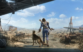 Wallpaper Nora, Dogs, Girls, Fallout 4, Road