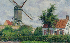 Picture landscape, house, picture, Camille Pissarro, Windmill at Knokke