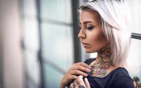 Picture face, model, portrait, makeup, piercing, tattoo, hairstyle, blonde, profile, bokeh, Luke Foscili, Felisja Foam