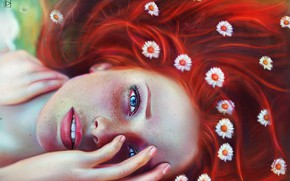 Picture eyes, look, girl, face, freckles, red, flowers