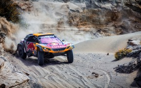 Wallpaper Sand, Auto, Sport, Machine, Speed, Race, Peugeot, Red Bull, 300, Rally, Dakar, Dakar, SUV, Rally, ...