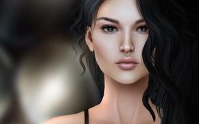 Picture girl, face, hair, portrait, brunette