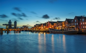 Picture bridge, lights, river, home, ships, the evening, Germany, promenade, piers, piles, Husumer