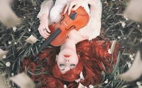 Picture girl, violin, Miss Froggi