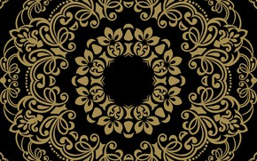 Wallpaper background, black, gold, ornament, pattern, ornament, seamless