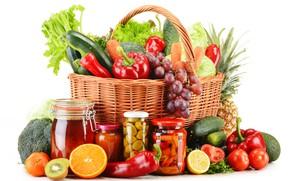 Picture lemon, basket, orange, kiwi, grapes, white background, pepper, banks, fruit, pineapple, vegetables, tomatoes, carrots, cabbage, …