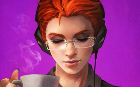 Wallpaper girl, headphones, glasses, art, overwatch, Moira O Deorain, moira