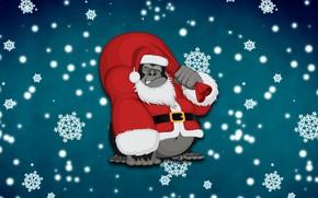 Picture Winter, Minimalism, Monkey, Snow, New Year, Background, Holiday, Mood, Gorilla