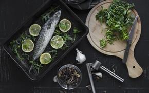 Picture Greens, Fish, Garlic
