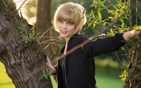 Picture girl, face, smile, tree, hair, Sophia