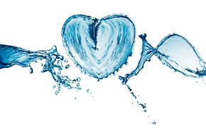 Picture water, drops, squirt, heart, white background