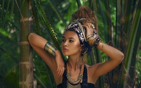 Picture greens, forest, girl, decoration, bamboo, makeup, jungle, hairstyle, outfit, brown hair, beautiful, dark