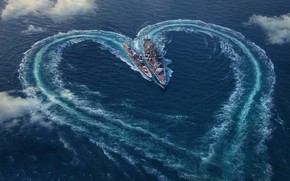 Wallpaper sea, ships, the view from the top, heart, clouds, Valentine's day, World Of Warship