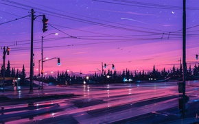 Picture Crescent, the sky, Alena Aenam The, artist, traffic lights, the moon, purple, trees, stars, forest, ...