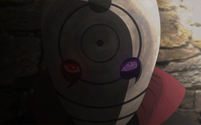 Picture Sharingan, mask, shadow, Naruto Shippuden, Rinnegan, tobi