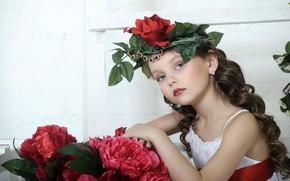 Wallpaper girl, look, dress, flowers, child