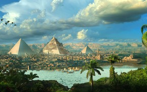 Picture birds, the city, palm trees, pyramid, Egypt