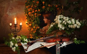 Wallpaper violin, candle, still life, picture, flowers