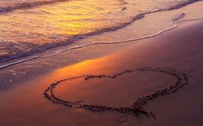 Picture sea, wave, beach, summer, the sky, love, sunset, pink, shore, heart, summer, love, beach, sky, …