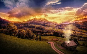Picture the sky, clouds, trees, mountains, field, Switzerland, panorama, houses, forest, meadows
