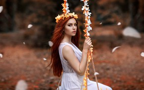Picture girl, flowers, swing, mood, Alessandro Di Cicco, Valentina Galassi