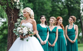 Picture summer, girl, decoration, joy, dress, hairstyle, the bride, dress, friend, beautiful, bouquet, wedding, bride
