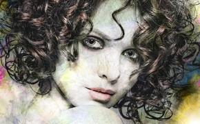 Picture look, girl, face, art, curls